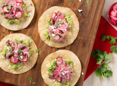 Flank Steak Tostadas with Pickled Radish and Red Onion