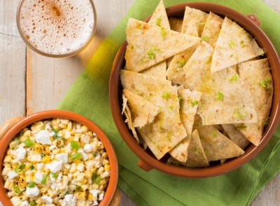 Mexican Street Corn Dip with Lime Baked Tortilla Chips