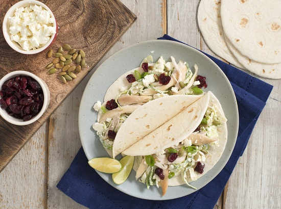Turkey Tacos with brussels sprouts and cranberry slaw